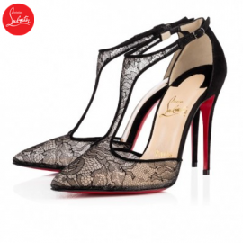 Christian Louboutin salonu Black 100mm Dentelle Womens Special O